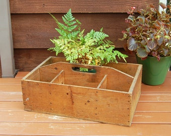 Rustic Wooden Divided Box, Vintage Wood Garden Box, Primitive Parts Box