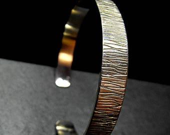 Y8 - Bracelet texturé, effet ecorce d'arbre en argent 925