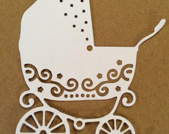 pram die cut, pushchair die cut, stoller die cut, buggy die cut, childs die cuts, baby scrapbook embellishments, card making baby dies