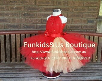 Red with rhinestone  Flower Girl Tutu Dress, Red Tutu Flower Girl Dress, Can be made in different Color