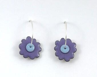 Reversible enamel flower earrings; purple reverses to dusty rose with sky blue centers on sterling silver hoops