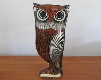 Signed Vintage Modern Abraham Palatnik Large Orange 10.5 inches tall Op Art Lucite Owl Figurine