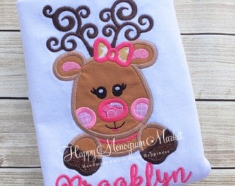 Girly Christmas Reindeer bow necklace Applique monogrammed shirt tshirt bodysuit holiday top Santa pictures outfit holiday party set