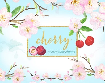 Cherry. Watercolor clipart.