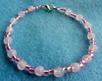 Pink Roses Beaded Bracelet