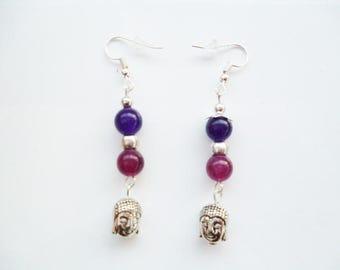 Earrings * zen * Buddha bead purple jade and Pearl plum