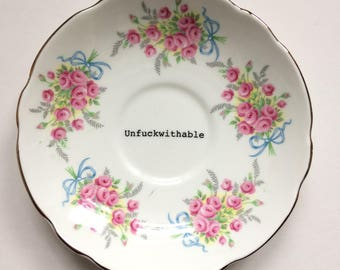 """Unf*ckwithable: upcycled, altered, repurposed, decorative classic vintage """"Royal Imperial"""" saucer with pink roses and blue bows"""