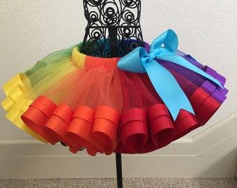 Rainbow Tutu, Ribbon Tutu, Sewn Ribbon Trimmed TuTu, Tutu Dresses, Tutu Skirt, Girl's Tutu, Tutu for  Girl's Party/ Birthday