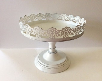 White Pedestal Display Stand - Shabby Cottage Chic - Cupcake Display - French Cottage - Filigree - Small Cake Plate - Beach - Distressed
