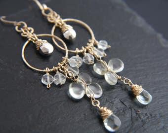 Bohemian Jewelry, Wedding, Aquamarine Earrings, Quartz, Gemstone Earrings, Chandelier Earrings, Gold Filled, Wire Wrapped, Flower Earrings