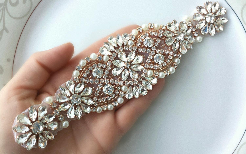 Rhinestone Pearl Applique Patch, Silver, Beaded, DIY