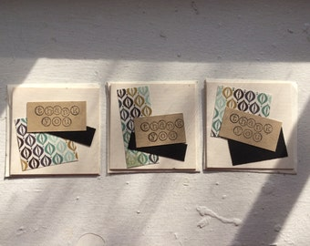 Thank You Cards. Handmade Cards. Patterned Paper Cards. Recycled Paper Cards. Set of 6.
