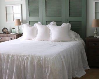 Linen Coverlet, Linen Bedspread, Linen Blanket, Linen Throw. Queen Coverlet, King Coverlet. White. Gorgeous!