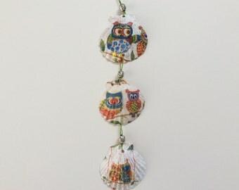 Scallop Shell wall hanging, decoupage seashells, owl decoration, seaside ornament, Scottish seashell