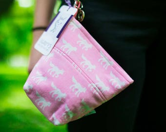 Custom Pooch Pouch Accessory Leash Bag for Dog Waste Bags in Pink Wolf