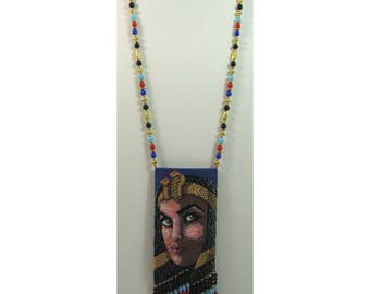 Cleopatral Beaded Amulet Bag Necklace or Wall Art