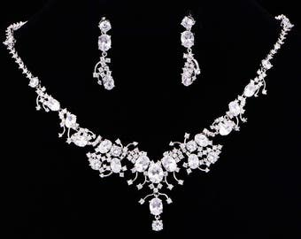 Bridal Jewelry Set CZ Bridal Set Flower Necklace And Earrings Set Wedding Jewelry Silver bridal jewelry Anniversary Gift,KD800120