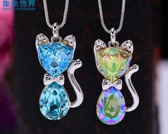 Lovely Mr Cat Necklace Swarovski Element Necklace Gift Necklace Crystal Pendant Necklace Best Mom's Gift NA410022