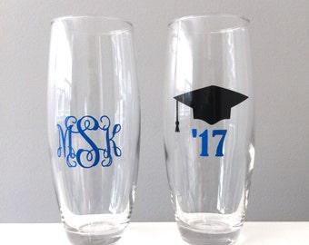 Graduation Wine Champagne, Graduation Gift, College Graduation Gift, Champagne Flute, Class of 2017, Stemless Champagne Flute, College grad