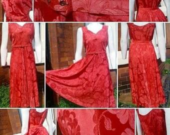 Gorgeous VOLUP 1940s/50s Pink Silk Damask Evening Dress!