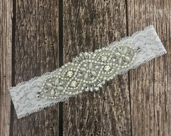 Rhinestone headband, white headband, flower girl headband, wedding headband, dressy headband, formal headband, baby headband, flower girl