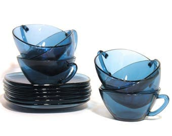 Vereco France - Set of 6 Blue Glass Cups and Saucers - 1960 - Coffee / Tea Cups - Houseware - French Classic - Kitchenware 70's Classic