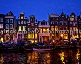 Amsterdam Photo Fine Art Photography Amsterdam Canals At Night European Old World Charm Unique Architecture Colorful Amsterdam Photography