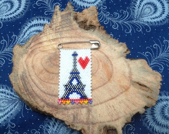 Eiffel tower hand beaded brooch