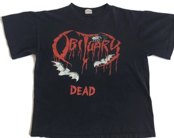 Vintage Rare OBITUARY DEAD T-shirt 1998 Morbid Angel Obituary Band Shirt (Glows In The Dark)