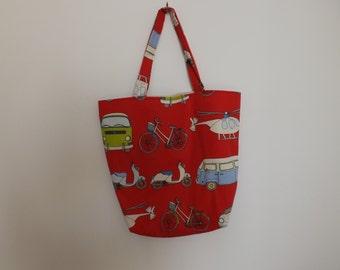 Red coloured shopping/beach bag