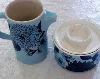 Vintage Near Mint Condition Brendan Erin Stone, Arklow Ireland, Blue Zinnia, Sugar Bowl and Creamer, Retro Sugar Bowl and Creamer