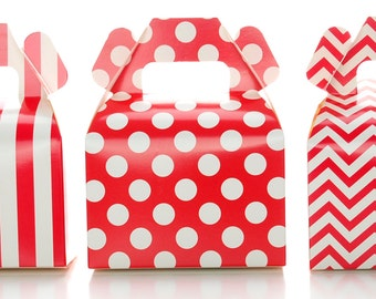 Wedding Favor Boxes, Red Christmas Holiday Candy & Gift Boxes (36 Pack) - Small Red Treat Boxes, Birthday Party Favor Gable Boxes