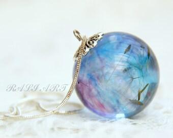 Тerrarium necklace Dandelion necklace Terrarium jewelry Pendant blue resin dandelion puffs Pendant dandelion Ball resin pendant Crystal ball