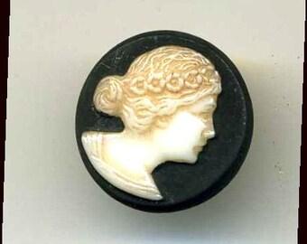 Button, Glass Woman's Head Cameo