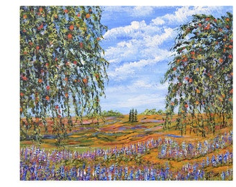 Lavender Flower Wall art print, Fine art home decor, Landscape with flowers, modern impressionism wall decor