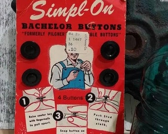1940s Simpl-On Bachelor Buttons No Sew Buttons for Men Who Could Not Sew on Original Card
