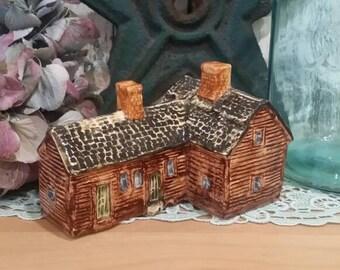 John Putnam Heritage Houses A12 New England Farmhouse Handpainted Ceramic Miniature House Made in England