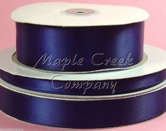 7/8 inch x 100 yards of Navy Blue Double Face Satin Ribbon - shines on both sides