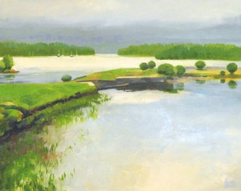 """Plein Air Painting, """"Acadia, Toward the Sound"""" Landscape painting, National Parks, Maine."""