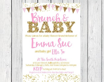 Brunch & Baby- Baby Shower Invitation- pink and gold glitter***Digital File***  (Baby-BrunchBunting)