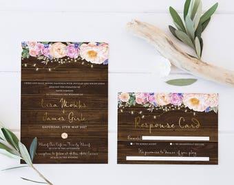 Rustic Flowers Wedding Invitation Suite - Floral Wedding Set for Boho Wedding | Bohemian Wedding Stationery, Elegant Event Stationery - Lisa