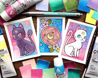 Sailor Moon Luna/Artemis/Compact Mini ACEO ATC Prints by Michelle Coffee