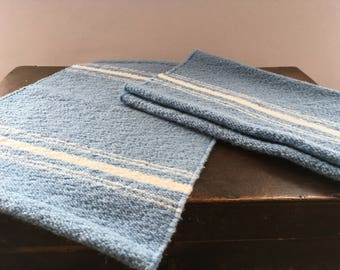 Vintage Finnish table plavemats by Hanhisalon Kutomo Woven blue white placemats Blue White striped napkins Scandinavian table napkins