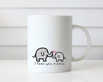 Ceramic Mug | Elephants | I Love You Mama | Mom | Home Office Decor