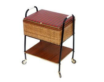 Chest on wheels storage jewelry sewing utensils