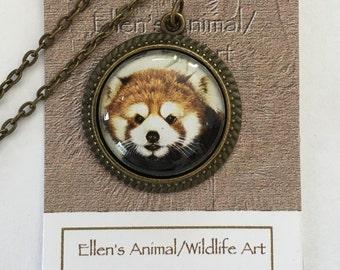 Red Panda Pendant, Red Panda Necklace, Red Panda art, necklace, pendant Animal necklace