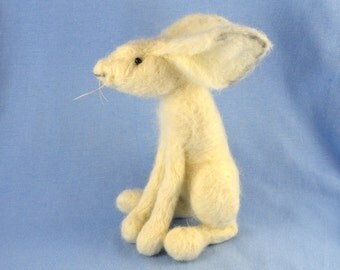 Needle Felting Kit Snow Hare, Gift, Hobby, Ornament, Collectible