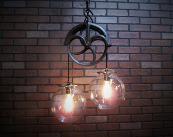 """Vintage Industrial Light Pulley Pendant Ceiling Light Glass Globe Shades  46"""" Long Antique Pulley Light Fixture  Kitchen Island Light"""