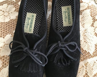 Vintage NEW Daniel Green Outdorables 1960's Black Genuine Suede Shoes Made in U.S.A.  Mint Condition