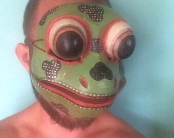 Vintage wooden toy face masks. Child animal face mask. Frog animal mask. Animal masks. Wizard of oz mask. Wooden masks. frogs